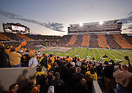 October 2 2010: Fans cheer before the start of the first half of the NCAA football game between the Penn State Nittany Lions and the Iowa Hawkeyes at Kinnick Stadium in Iowa City, Iowa on Saturday October 2, 2010. Iowa defeated Penn State 24-3.