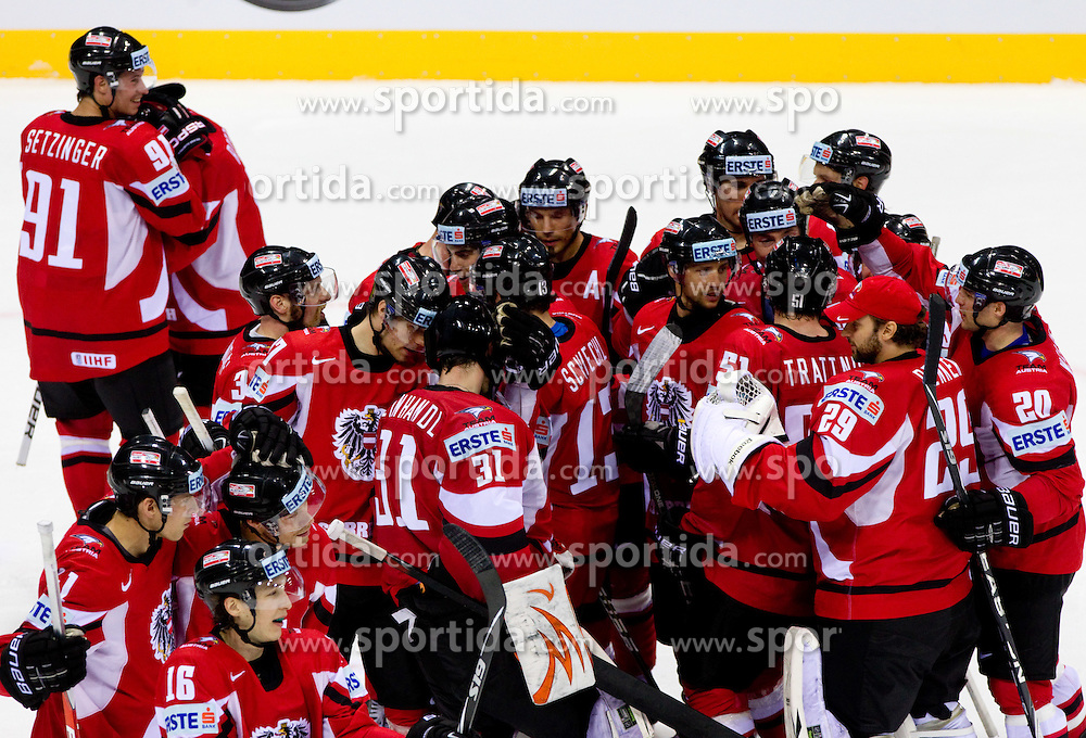 Players of Austria celebrate after the ice-hockey match between Austria and Slovenia of Group G in Relegation Round of IIHF 2011 World Championship Slovakia, on May 7, 2011 in Orange Arena, Bratislava, Slovakia. Austria defeated Slovenia 3-2. (Photo By Vid Ponikvar / Sportida.com)