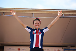 Stage winner, Ruth Winder (USA) at Tour Cycliste Féminin International de l'Ardèche 2018 - Stage 6, a 113.7km road race from Savasse to Montboucher sur Jabron, France on September 17, 2018. Photo by Sean Robinson/velofocus.com