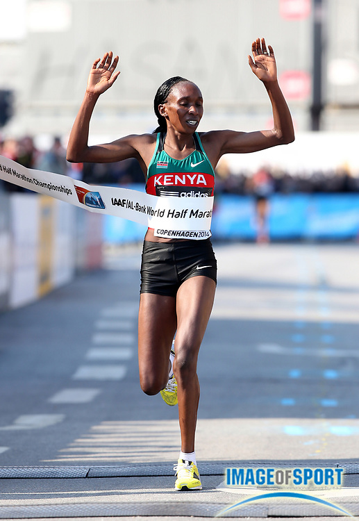 Mar 29, 2014; Copenhagen, Denmark; Gladys Cherono (KEN) wins the womens race in 1:07:29 in the IAAF/AL-Bank World Half Marathon Championship. Photo by Jiro Mochizuki