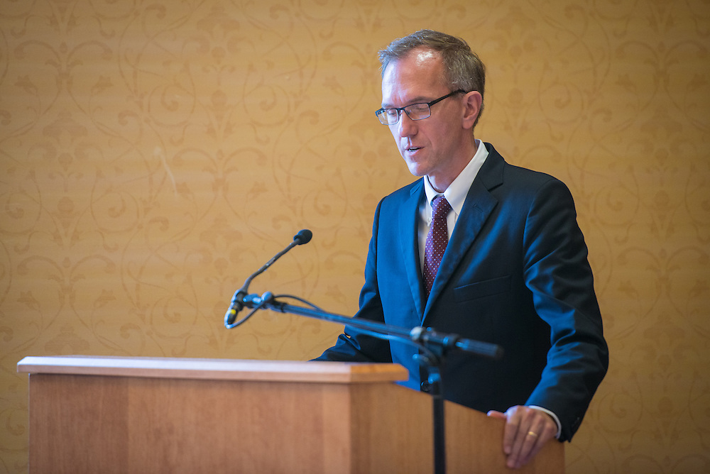 Joseph Shields, Vice President for Research & Creative Activity and Dean of Ohio University's Graduate College, speaks with finalists for the 2016 Faculty Awards and Recognition Ceremony at Ohio University's Baker University Center on Tuesday, September 6, 2016.