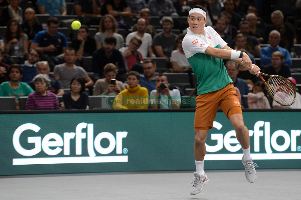 November 1, 2018 - Paris, France - KEI NISHIKORI of Japan in his third round match in the Rolex Paris Masters tennis tournament in Paris France. (Credit Image: © Christopher Levy/ZUMA Wire)