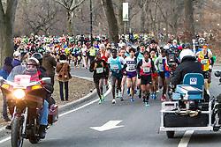 elite men take off from start in Central Park,