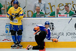Jonas Bergman  of Sweden vs Tobias Kauppinen of Finland at Game 12 of IIHF In-Line Hockey World Championships Top Division Group match between National teams of Sweden and Finland on June 30, 2010, in Karlstad, Sweden. (Photo by Matic Klansek Velej / Sportida)