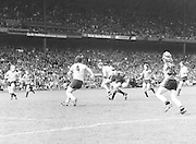 Kerry runs through Dublin players in possession of the ball during the Kerry v Dublin All Ireland Senior Gaelic Football Final in Croke Park on the 24th of September 1978. Kerry 5-11 Dublin 0-9.