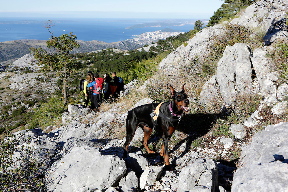 Via Dinarica team on their way to the ridge and the peaks of the Mosor mountain, Croatia.
