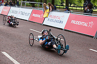 Hand Cyclists finish the race on The Mall during The Prudential RideLondon weekend.<br /> Sunday 2nd August 2015. <br /> <br /> Prudential RideLondon is the world's greatest festival of cycling, involving 95,000+ cyclists – from Olympic champions to a free family fun ride - riding in five events over closed roads in London and Surrey over the weekend of 1st and 2nd August 2015. <br /> <br /> Photo: Paul Gregory<br /> <br /> See www.PrudentialRideLondon.co.uk for more.<br /> <br /> For further information: Penny Dain 07799 170433<br /> pennyd@ridelondon.co.uk