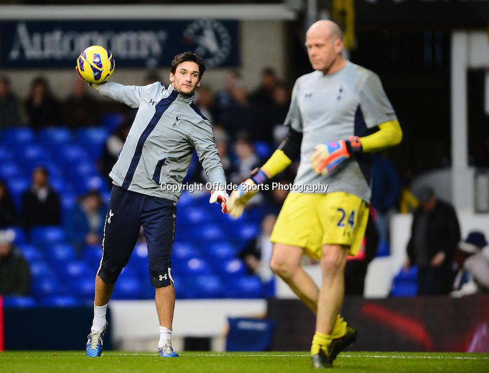 22nd December 2012 - Barclays Premier League - Tottenham Hotspur v Stoke City - Hugo Lloris of Tottenham Hotspur throws the ball as he stands alongside Brad Freidel. Photo: Marc Atkins / Offside.