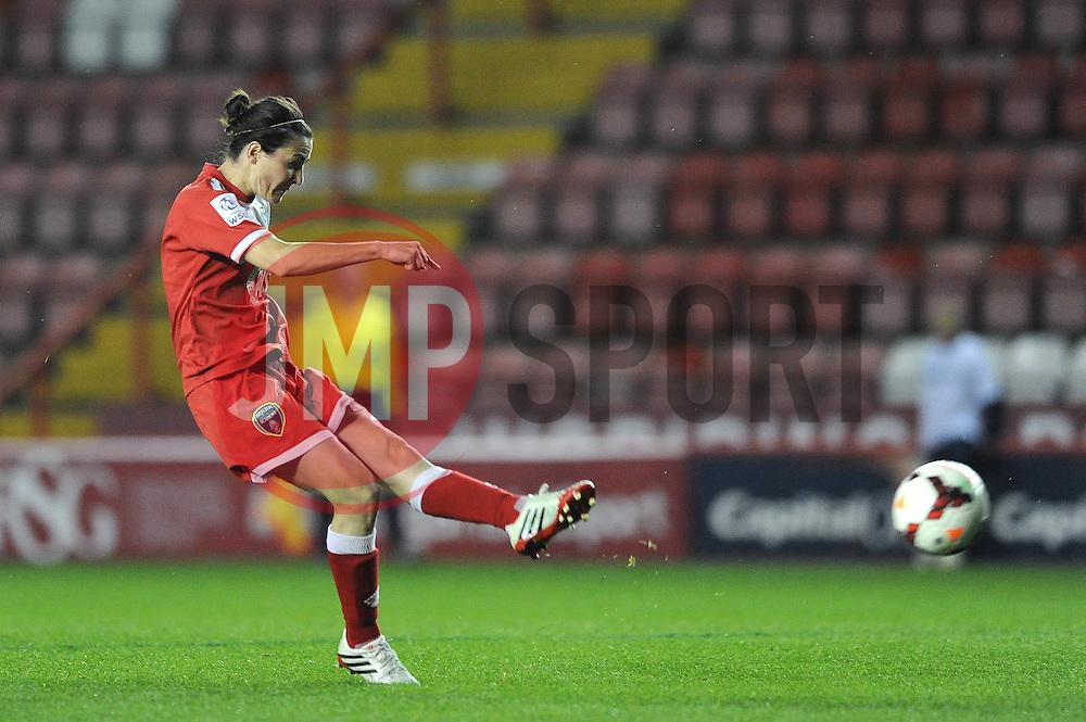 Bristol Academy Womens' Natalia Pablos Sanchon takes a shot at goal. - Photo mandatory by-line: Dougie Allward/JMP - Mobile: 07966 386802 - 16/10/2014 - SPORT - Football - Bristol - Ashton Gate - Bristol Academy v Raheny United - Women's Champions League