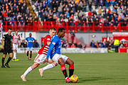 Lassana Coulibaly calmly plays the ball back inside during the Ladbrokes Scottish Premiership match between Hamilton Academical FC and Rangers at The Hope CBD Stadium, Hamilton, Scotland on 24 February 2019.