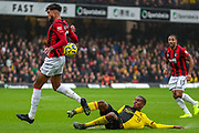 AFC Bournemouth midfielder Philip Billing (29) is challenged by Watford defender Christian Kabasele (27) during the Premier League match between Watford and Bournemouth at Vicarage Road, Watford, England on 26 October 2019.