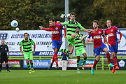 Forest Green Rovers Christian Doidge(9)challenges for the ball during the Vanarama National League match between Forest Green Rovers and Aldershot Town at the New Lawn, Forest Green, United Kingdom on 5 November 2016. Photo by Shane Healey.