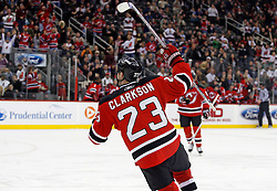 November 28, 2007; Newark, NJ, USA; New Jersey Devils right wing David Clarkson (23) celebrates his goal during the second period of their game against the Dallas Stars at the Prudential Center in Newark, NJ.