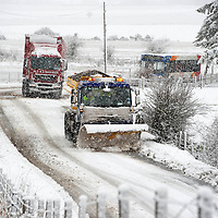 Heavy Snow hits Perthshire...07.02.11<br /> More misery for drivers this morning as heavy snow fell on Perth, a snow plough at work on the B935 near Forgandenny south of Perth<br /> Picture by Graeme Hart.<br /> Copyright Perthshire Picture Agency<br /> Tel: 01738 623350  Mobile: 07990 594431
