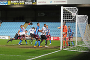 Tom Pope (11) of Bury heads the ball into the goal to score and go 2-1 to scunthorpe during the Sky Bet League 1 match between Scunthorpe United and Bury at Glanford Park, Scunthorpe, England on 19 April 2016. Photo by Ian Lyall.