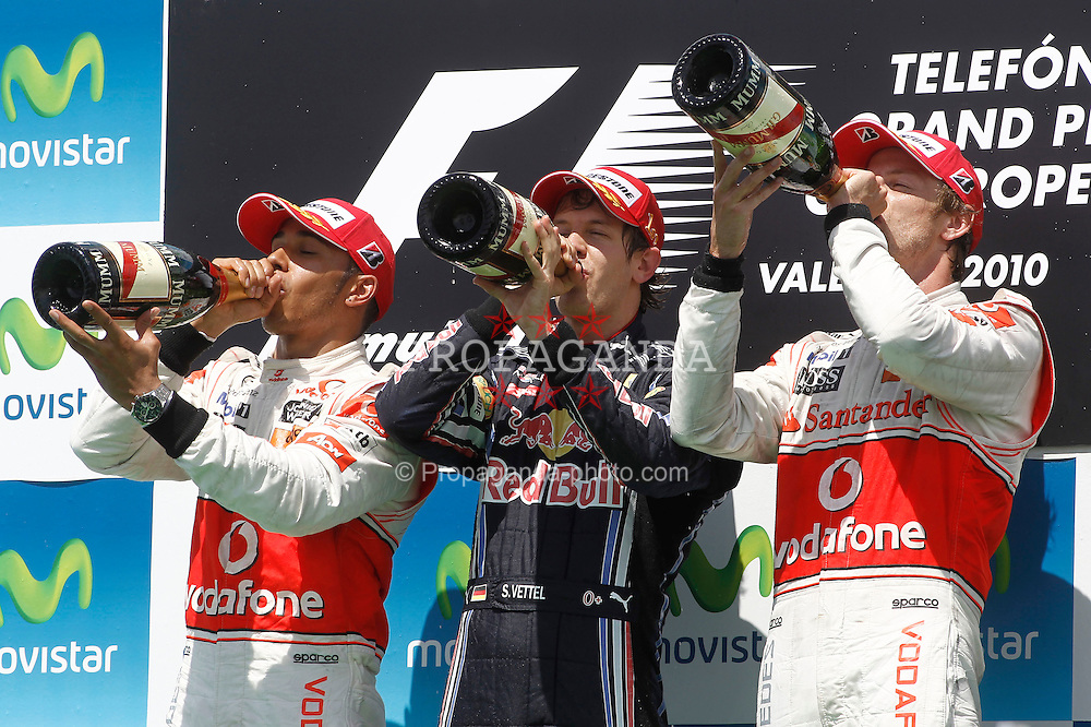 Motorsports / Formula 1: World Championship 2010, GP of Europe, 02 Lewis Hamilton (GBR, Vodafone McLaren Mercedes), 05 Sebastian Vettel (GER, Red Bull Racing), 01 Jenson Button (GBR, Vodafone McLaren Mercedes),