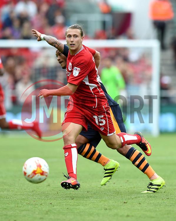 Luke Freeman of Bristol City tackles Yoan Gouffran of Newcastle United  - Mandatory by-line: Joe Meredith/JMP - 20/08/2016 - FOOTBALL - Ashton Gate - Bristol, England - Bristol City v Newcastle United - Sky Bet Championship