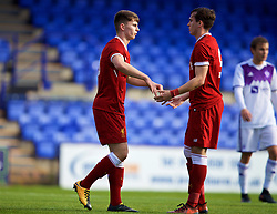 BIRKENHEAD, ENGLAND - Wednesday, November 1, 2017: Liverpool's Ben Woodburn celebrates scoring the second goal from a penalty kick during the UEFA Youth League Group E match between Liverpool and NK Maribor at Prenton Park. (Pic by David Rawcliffe/Propaganda)