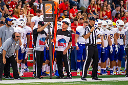 NORMAL, IL - September 07: Brett Carpenter stands next to the chain crew made in part by chainman Larry Rottunda during a college football game between the ISU (Illinois State University) Redbirds and the Morehead State Eagles on September 07 2019 at Hancock Stadium in Normal, IL. (Photo by Alan Look)