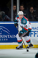 KELOWNA, CANADA - FEBRUARY 14:  Ted Brennan #10 of the Kelowna Rockets skates with the puck from behind the net against the Red Deer Rebels on February 14, 2018 at Prospera Place in Kelowna, British Columbia, Canada.  (Photo by Marissa Baecker/Shoot the Breeze)  *** Local Caption ***