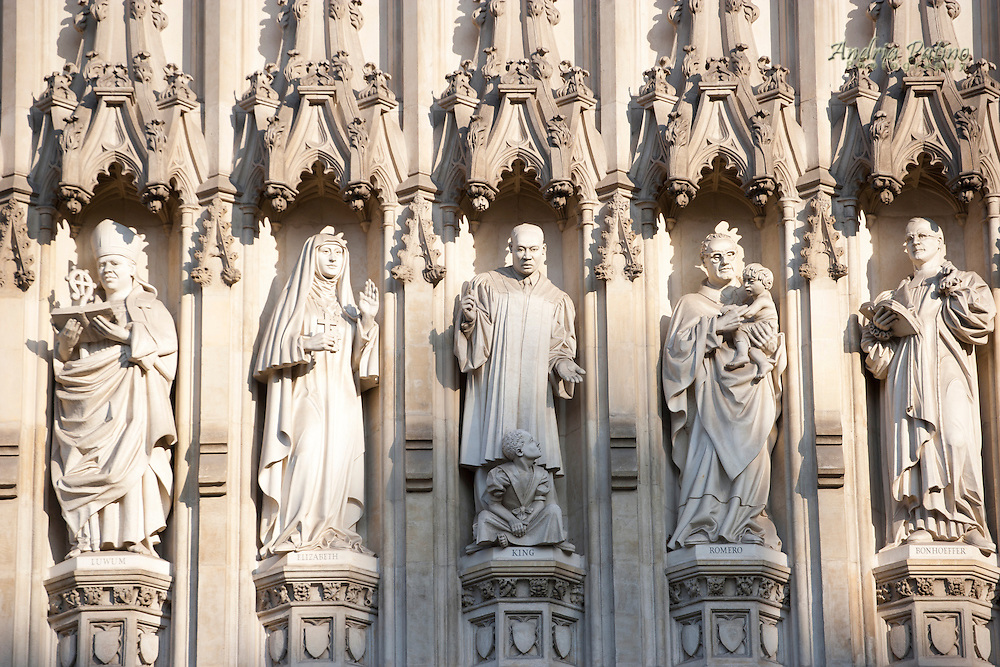 stands above the west entrance to Westminster Abbey among other martyrs of the 20th century, London