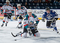KELOWNA, CANADA - SEPTEMBER 3: Braydyn Chizen #22 of Kelowna Rockets falls to the ice against the Victoria Royals on September 3, 2016 at Prospera Place in Kelowna, British Columbia, Canada.  (Photo by Marissa Baecker/Shoot the Breeze)  *** Local Caption *** Braydyn Chizen;