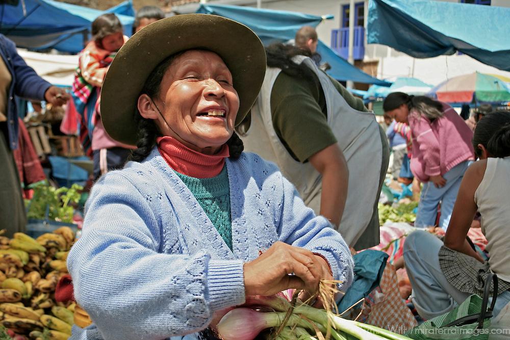 Americas, South America, Peru, Pisac. The happy onion seller at Pisac.