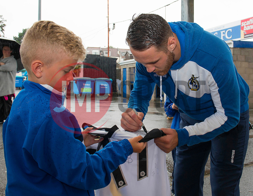 Tom Parkes of Bristol Rovers signs autographs during an Open Day at the Memorial Stadium - Mandatory by-line: Dougie Allward/JMP - 07966386802 - 26/07/2015 - SPORT - FOOTBALL - Bristol,England - Memorial Stadium - Bristol Rovers Open Day - Bristol Rovers Open Day