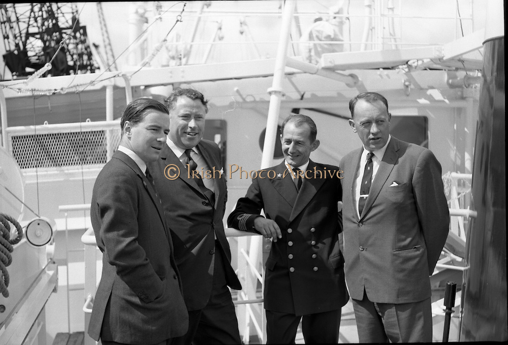 """Echo"" a new ship to sail the Holland Ireland line, visits Dublin Port. A reception was held on board the ship, docked at North Wall..08.08.1961"