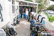 A SCUBA diving club in Larnaca, Cyprus. Divers are readying their equipment