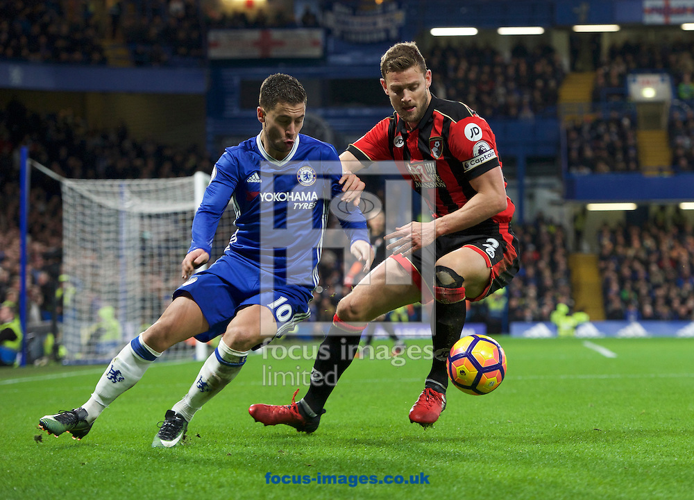 Eden Hazard of Chelsea and Simon Francis of Bournemouth during the Premier League match at Stamford Bridge, London<br /> Picture by Alan Stanford/Focus Images Ltd +44 7915 056117<br /> 26/12/2016