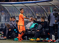 MARIBOR, SLOVENIA - Tuesday, October 17, 2017: Liverpool's Roberto Firmino shakes hands with goalkeeper Simon Mignolet after being substituted during the UEFA Champions League Group E match between NK Maribor and Liverpool at the Stadion Ljudski vrt. (Pic by David Rawcliffe/Propaganda)