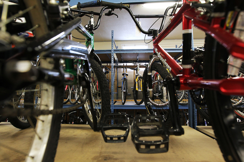 Refurbished bicycles are displayed for sale at Express Bike Shop in St. Paul, Minnesota.  Apprentices in the Youth Express program work part time at the shop where they learn mechanical skills related to fixing bicycles, as well as customer relation and entrepreneurial skills.