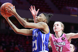 NORMAL, IL - February 10: Daijah Smith passes defender Kayel Newland during a college women's basketball Play4Kay game between the ISU Redbirds and the Indiana State Sycamores on February 10 2019 at Redbird Arena in Normal, IL. (Photo by Alan Look)