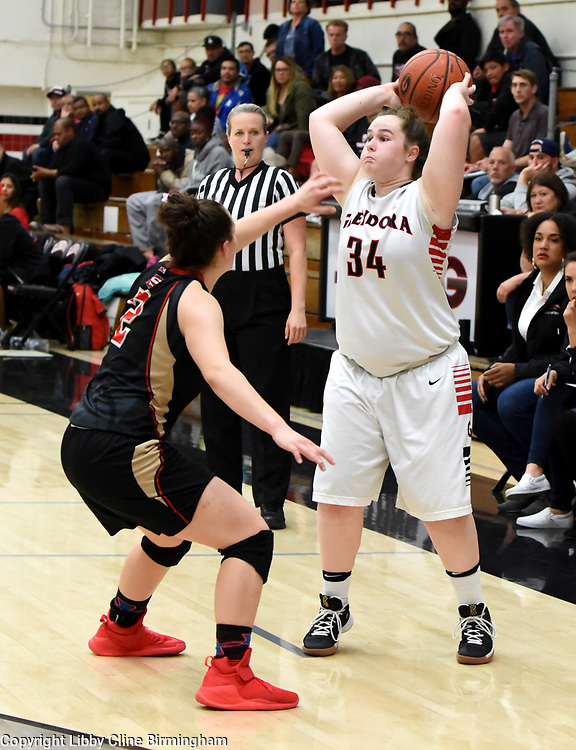 Glendora's  in the first half of a second round CIF girls basketball game against Segerstrom  at Glendora High School in Glendora, Calif., on Saturday, Feb. 17, 2018. (Photo by Libby Cline Birmingham)