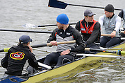 London. UNITED KINGDOM.  Oxford University BC vs German Crew. Varsity Fixture before the 159th BNY Mellon Boat Race on the Championship Course, River Thames, Putney/Mortlake.  Sunday  17/03/2013    [Mandatory Credit. Intersport Images],  Germany from left to right.  Kristof Wilke 2012 M8+, Richard Schmidt 2012 M8+, Eric Johannesen 2012 M8+ and Cox Martin Sauer 2012 M8+..German stern four get ready to paddle off.