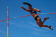 Sophie DOWSON competes in the Women's Pole Vault during the Muller British Athletics Championships at Alexander Stadium, Birmingham, United Kingdom on 25 August 2019.