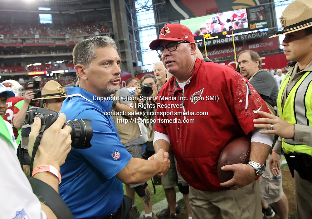 15 SEPT 2013: Cardinals Head Coach Bruce Arians shakes hands with Lions Head Coach Jim Schwartz after the Arizona Cardinals hosting the Detroit Lions game at the University of Phoenix Stadium in Glendale, AZ.