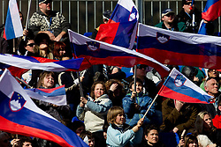 Fans of Slovenia during 2nd Rund of Men's Giant Slalom of FIS Ski World Cup Alpine Kranjska Gora, on March 5, 2011 in Vitranc/Podkoren, Kranjska Gora, Slovenia.  (Photo By Vid Ponikvar / Sportida.com)