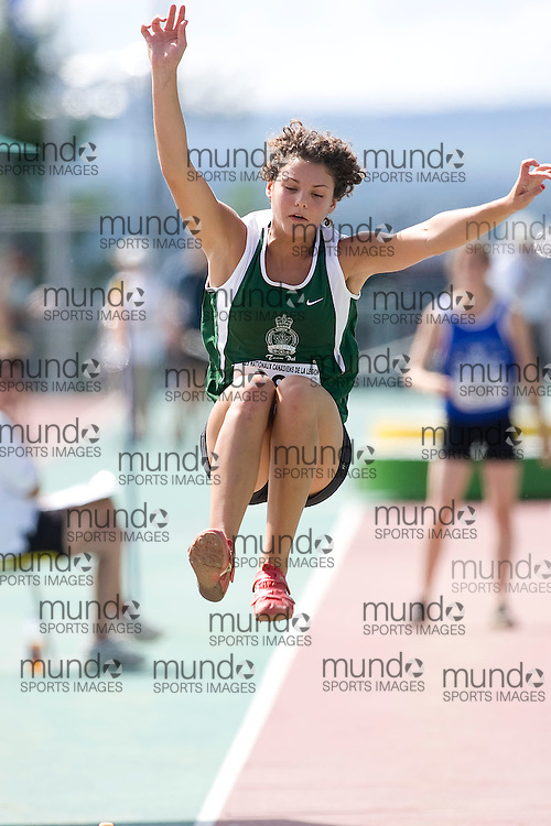 (Sherbrooke, Quebec---10 August 2008) Lauren Hurry competing in the under 15 girls long jump at the 2008 Canadian National Youth and Royal Canadian Legion Track and Field Championships in Sherbrooke, Quebec. The photograph is copyright Sean Burges/Mundo Sport Images, 2008. More information can be found at www.msievents.com.