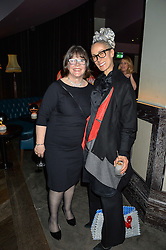 Left to right, BARONESS DELYTH MORGAN and CARYN FRANKLIN at the Fashion Targets Breast Cancer 20th Anniversary Party held at 100 Wardour Street, Soho, London on 12th April 2016.