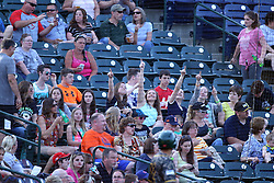 03 June 2016:  Several young ladies dance in their seats to music on the PA between innings during a Frontier League Baseball game between the Windy City Thunderbolts and the Normal CornBelters at Corn Crib Stadium on the campus of Heartland Community College in Normal Illinois