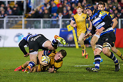 Billy Searle of Bristol Rugby is tackled short of the tryline - Rogan Thomson/JMP - 18/11/2016 - RUGBY UNION - Recreation Ground - Bath, England - Bath Rugby v Bristol Rugby - Aviva Premiership.