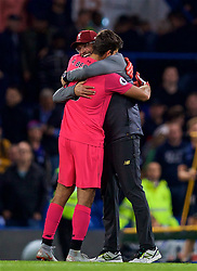 LONDON, ENGLAND - Saturday, September 29, 2018: Liverpool's goalkeeper Alisson Becker embraces manager Jürgen Klopp after the FA Premier League match between Chelsea FC and Liverpool FC at Stamford Bridge. (Pic by David Rawcliffe/Propaganda)
