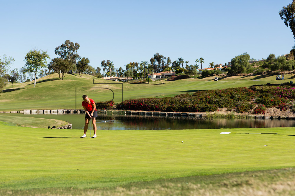 28 March 2018: Sara Kjellker putts the ball fifteen feet out on the thirteenth hole during the final round of match play against UCLA at it's annual March Mayhem Tournament at the Farms Golf Club in Rancho Santa Fe, California.<br /> More game action at sdsuaztecphotos.com