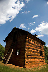 Reconstructed slave cabin, Booker T. Washington National Monument, Hardy, Virginia, August 5, 2008.  The Monument is located on the site of the James and Elizabeth Burroughs Plantation, where Washington was born a slave on April 5, 1865.