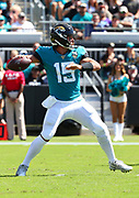 Oct 13, 2019; Jacksonville, FL USA;  Jacksonville Jaguars quarterback Gardner Minshew (15) throws a pass against the New Orleans Saints during an NFL game at TIAA Bank Field in Jacksonville, FL. The Saints beat the Jaguars 13-6. (Steve Jacobson/Image of Sport)