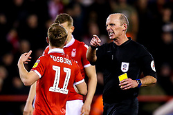Referee Mike Dean speaks to Ben Osborn of Nottingham Forest - Mandatory by-line: Robbie Stephenson/JMP - 13/03/2019 - FOOTBALL - The City Ground - Nottingham, England - Nottingham Forest v Aston Villa - Sky Bet Championship