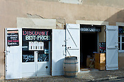 Discount wine merchants vigneron shop in rue Guadet Saint Emilion in the Bordeaux wine region of France