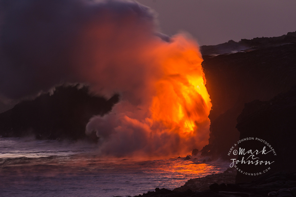 Lava flow into the ocean at Kamokuna, Big Island, Hawaii